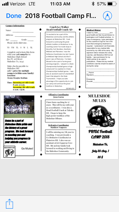 Pride football camp