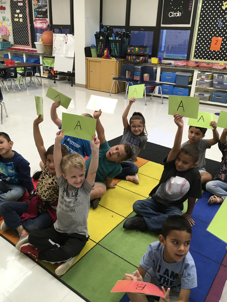 This a pic of Kindergarten showing me the answer A to a quick assessment!