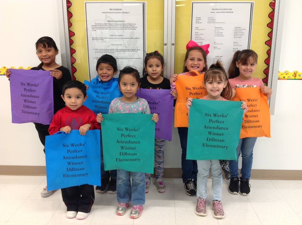 Great Job!!!!!!!!!!!!  Our Perfect Attendance Winners for the 1st. six weeks.