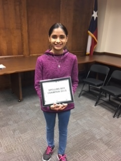 2018 MISD District Spelling Bee Champion- Dhvni Sharma