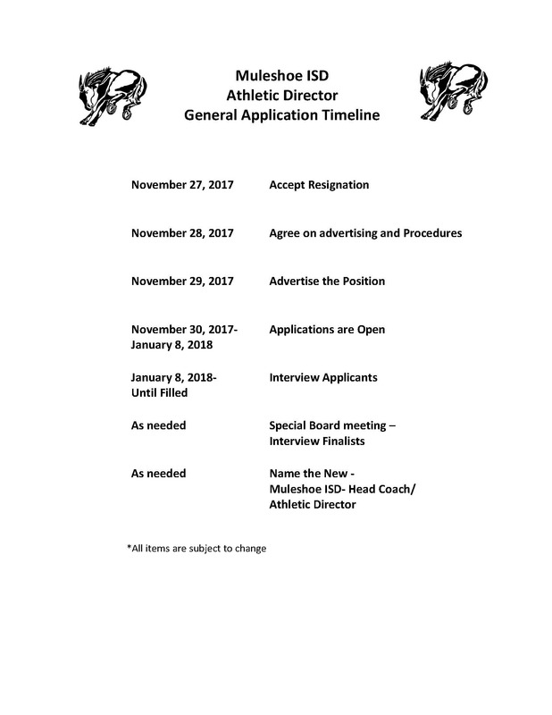 Athletic Director General Application Timeline
